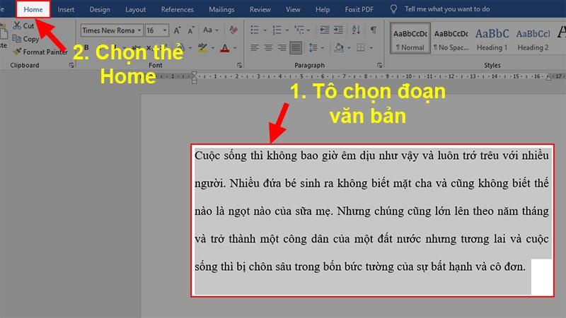 Mở file Word bị cách dòng xa > Bôi đen đoạn văn bản bị cách dòng xa > Chọn thẻ Home