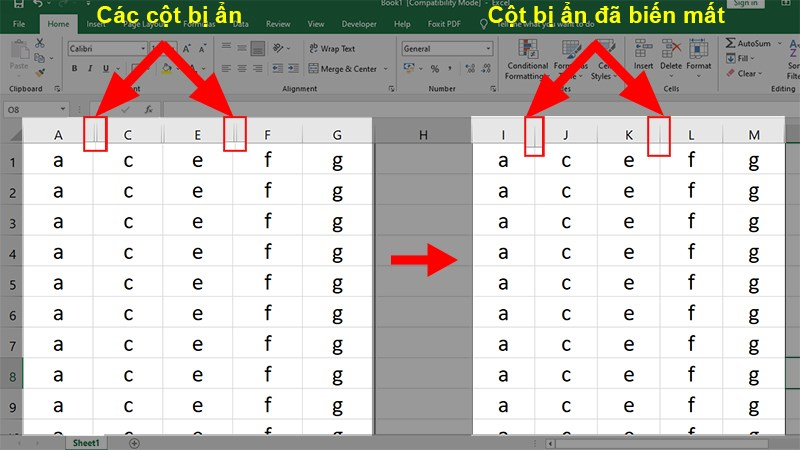 Dán dữ liệu đã copy ở vị trí cần dán và kết quả hiển thị sẽ không có các dòng hay cột ẩn nữa