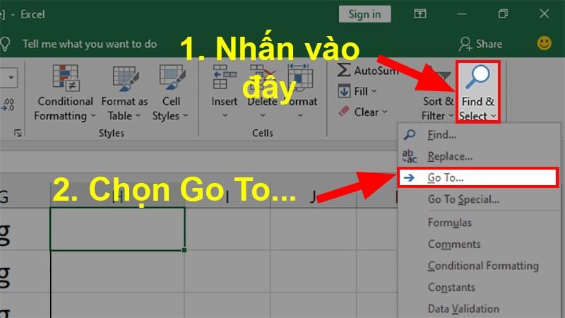 Đi đến mục Editing > Nhấn vào Find & Select > Chọn Go To...