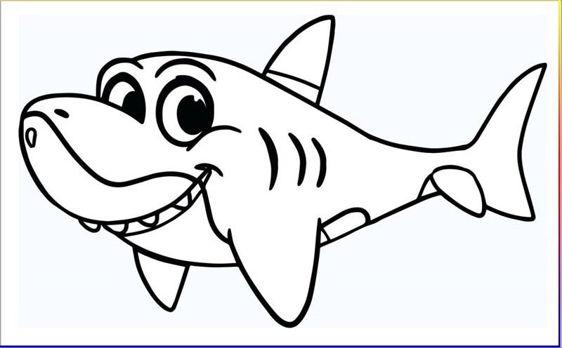 Ảnh tô màu hình cá mập của các bé