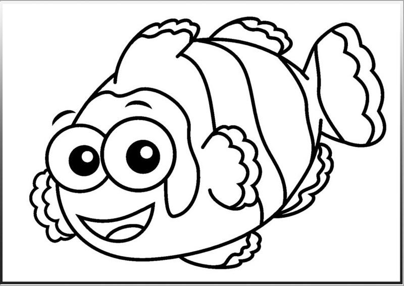 Ảnh tô màu hình cá hề đáng yêu dành cho bé