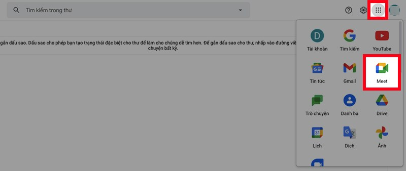 Đăng nhập Gmail trên máy tính, nhấn vào biểu tượng dấu chấm ở góc trên bên phải > Chọn Meet