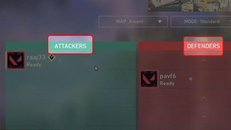 Chọn phe tấn công hoặc phe phòng thủ