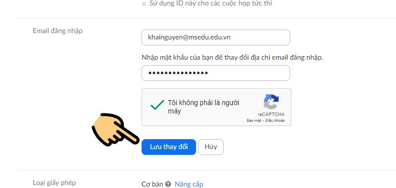 Nhập địa chỉ email do cơ sở giáo dục cấp