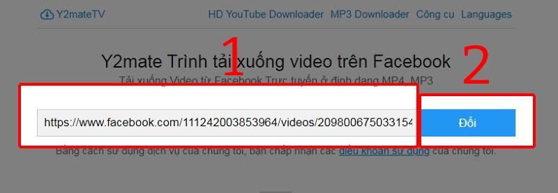 Dán URL video Facebook và nhấn nút Đổi