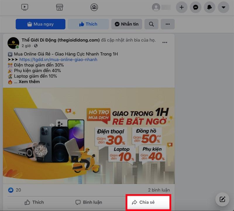 Mở Facebook trên máy tính, chọn bài viết mà bạn muốn chia sẻ > Nhấn vào biểu tượng chia sẻ ở góc dưới bên phải bài viết