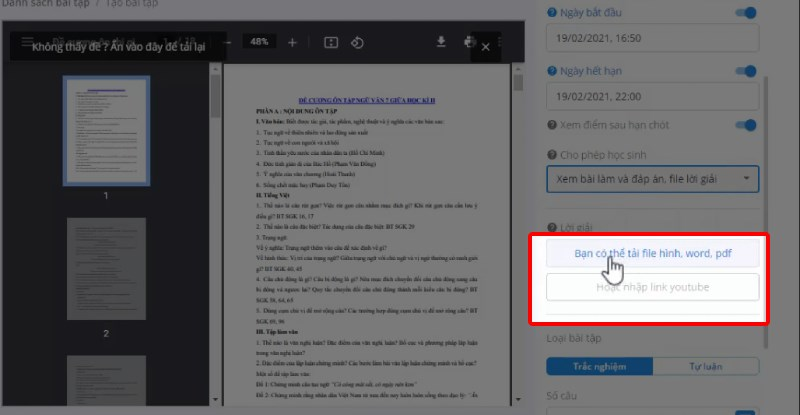 Tải file hình, word, pdf từ máy lên hoặc nhập link Youtube vào