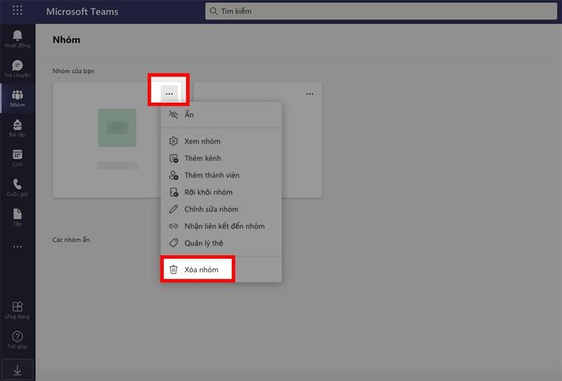 Nhấn vào biểu tượng 3 dấu chấm ở bên phải tên nhóm hoặc lớp học > Chọn Xóa nhóm