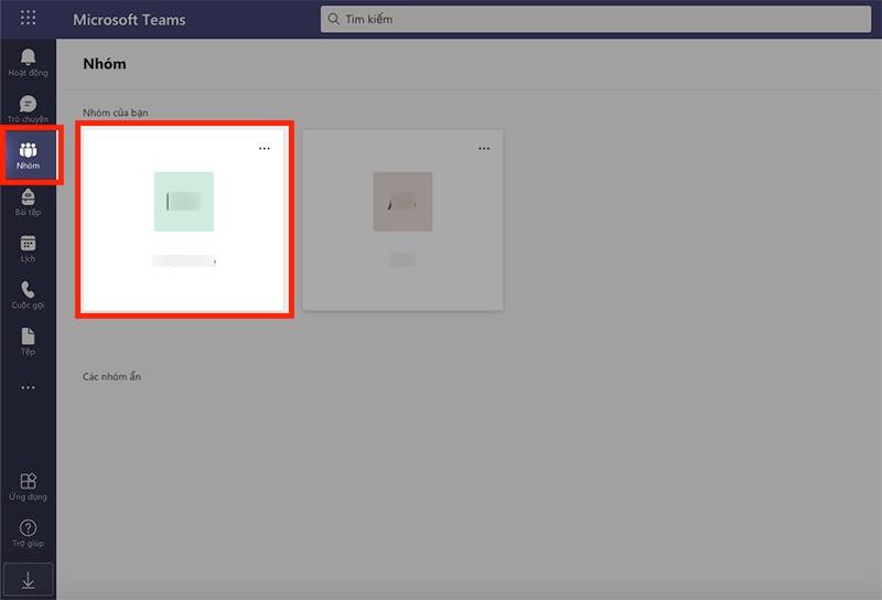 Mở Microsoft Teams trên máy tính, chọn biểu tượng Nhóm ở góc bên phải > Chọn nhóm mà bạn muốn xóa