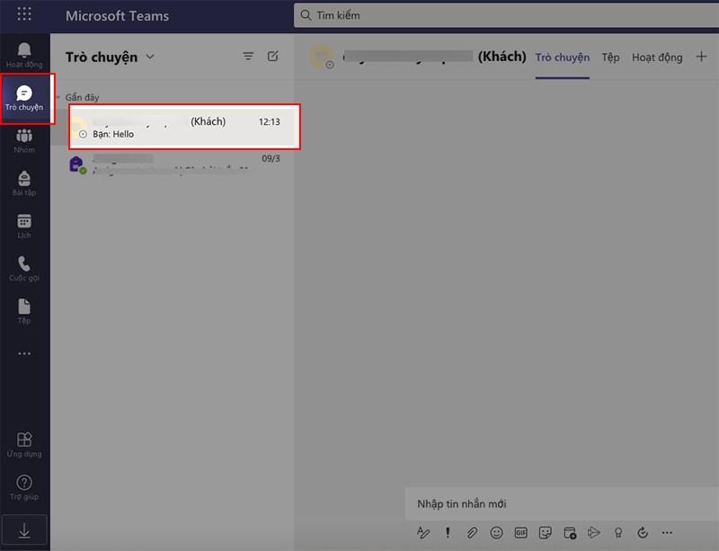 Mở Microsoft Teams trên máy tính, chọn biểu tượng Trò chuyện ở góc bên phải > Chọn tin nhắn mà bạn muốn xóa