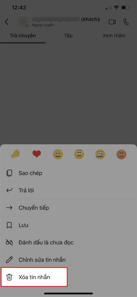 Nhấn giữ tin nhắn mà bạn muốn xóa > Chọn Xóa tin nhắn