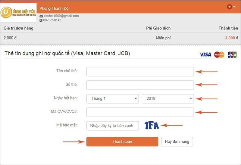 Donate bằng thẻ Visa