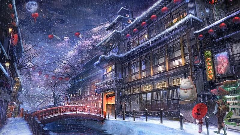 Hình nền anime mùa đông 2 (Kích thước: 1920 x 1080)