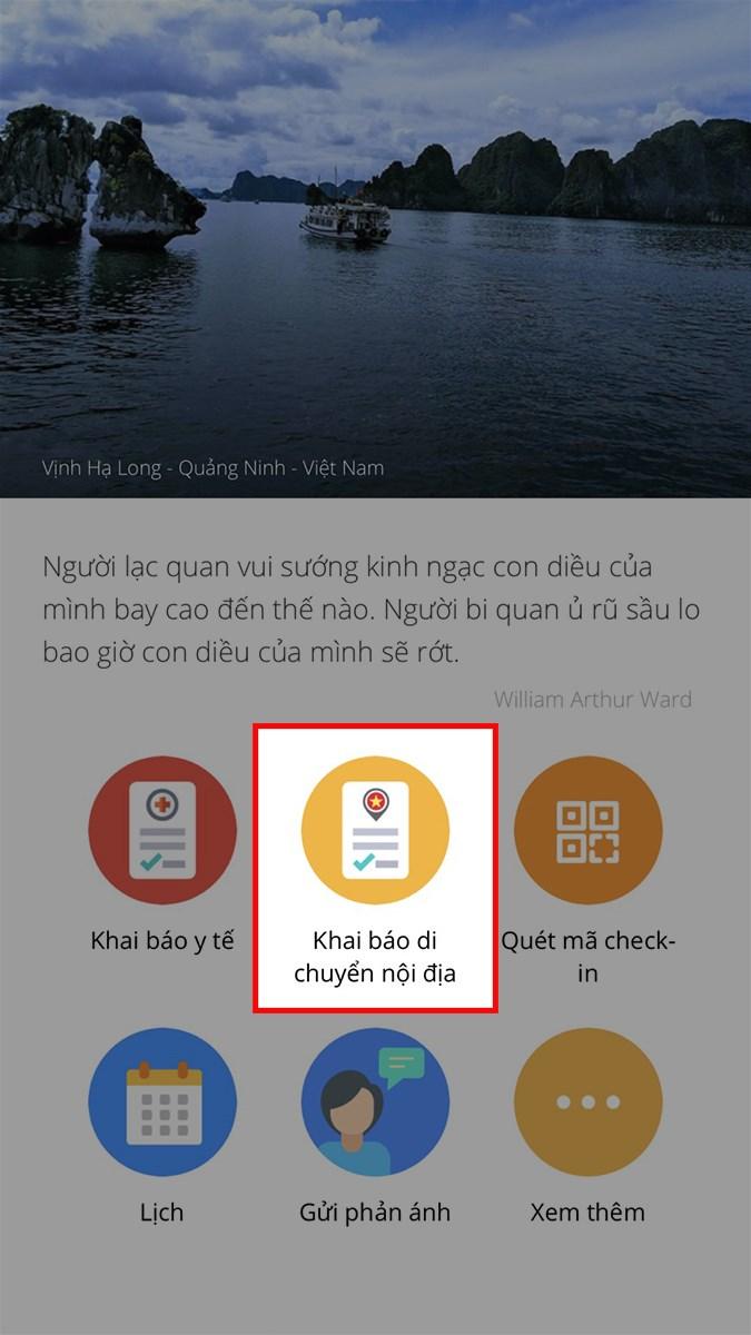 Mở ứng dụng Bluezone, chọn Khai báo di chuyển nội địa