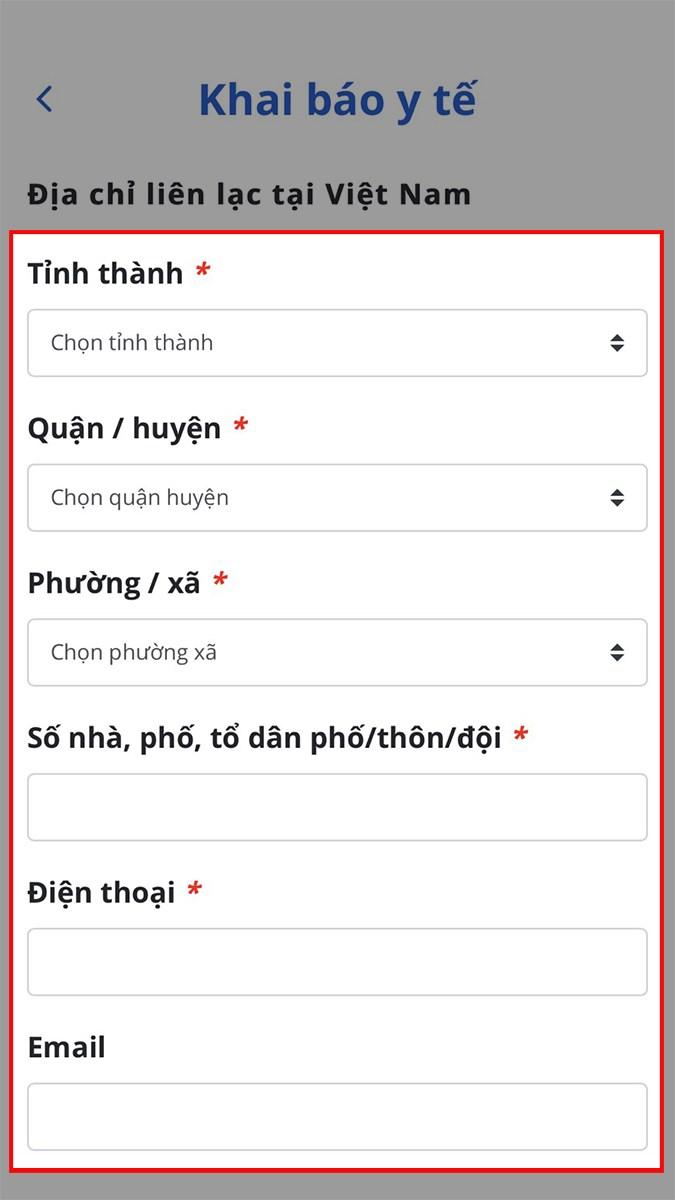 Điền địa chỉ liên lạc tại Việt Nam