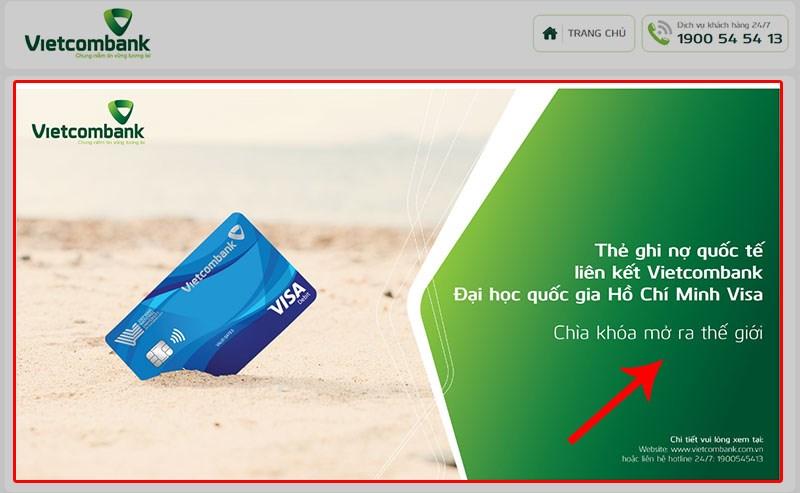 Truy cập link đăng ký mở thẻ VISA Vietcombank