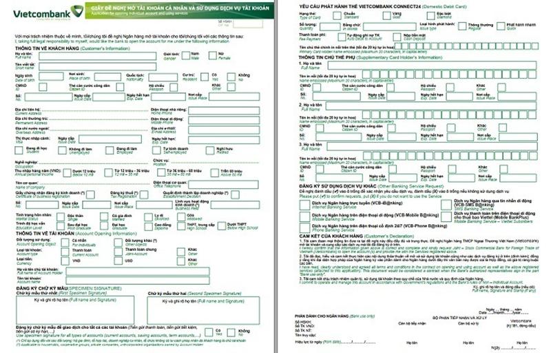 Mẫu đơn đăng ký thẻ VISA Vietcombank