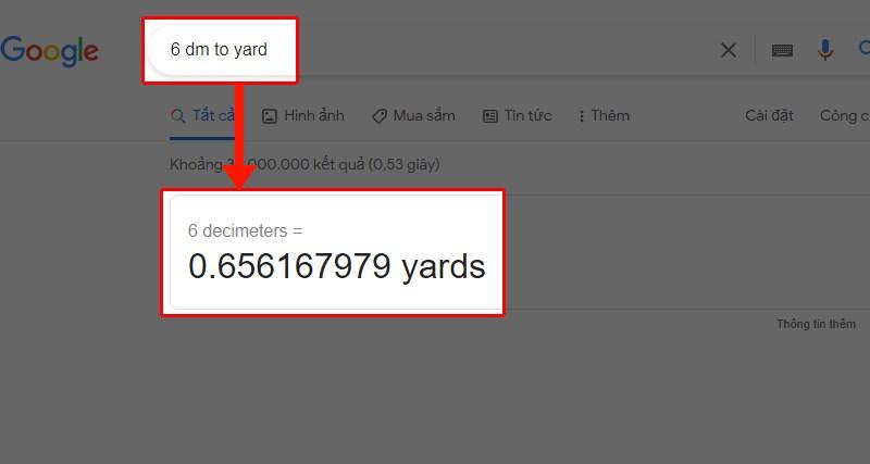 Dùng Google để đổi tấc sang các đơn vị khác