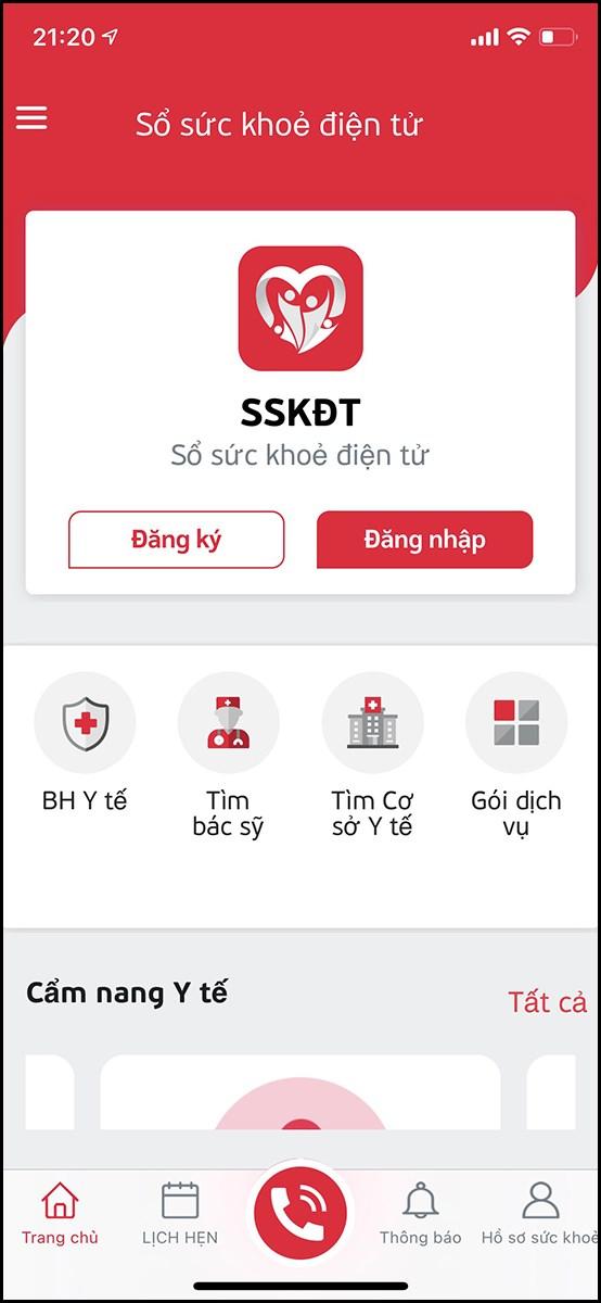 Giao diện của ứng dụng sổ sức khoẻ điện tử.