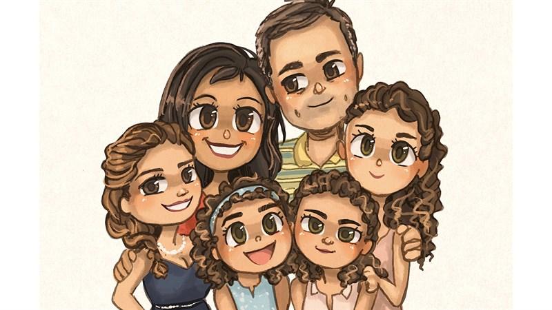 Hình ảnh chibi gia đình hạnh phúc 8 (Kích thước: 1920 x 1080)