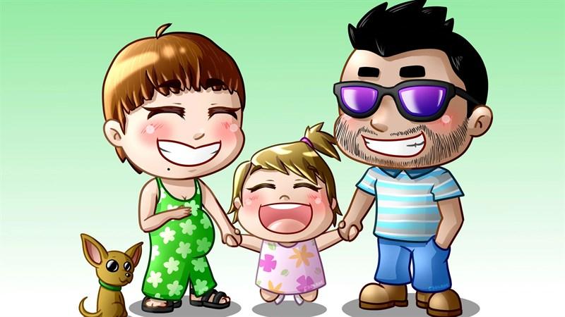 Hình ảnh chibi gia đình hạnh phúc 9 (Kích thước: 1920 x 1080)