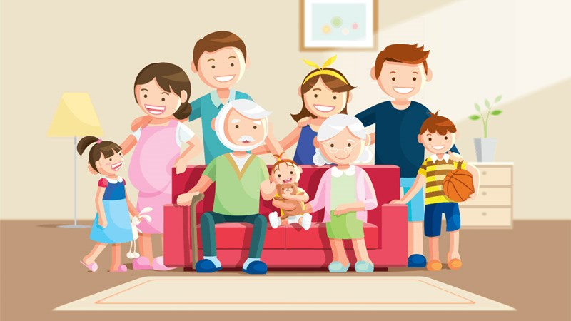 Hình ảnh chibi gia đình hạnh phúc 3 (Kích thước: 1920 x 1080)
