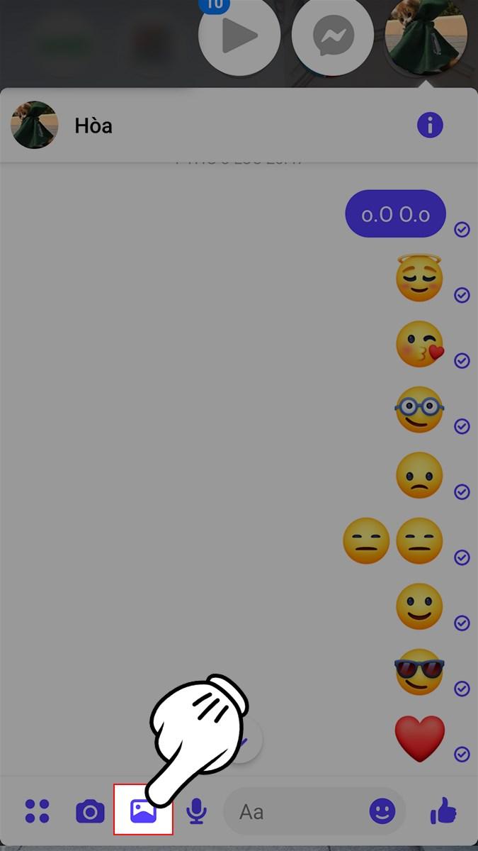 Mở giao diện Messenger > Chọn vào biểu tượng hình ảnh