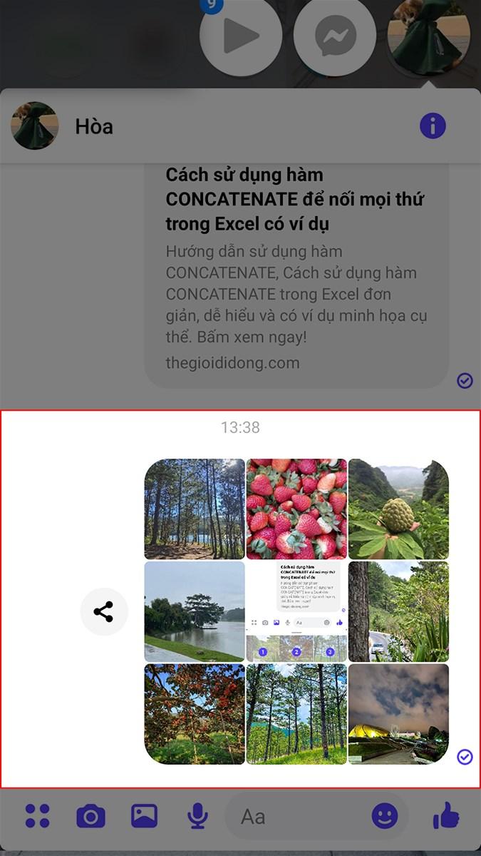 Nhấn Gửi để gửi nhiều hình ảnh đã chọn qua Messenger