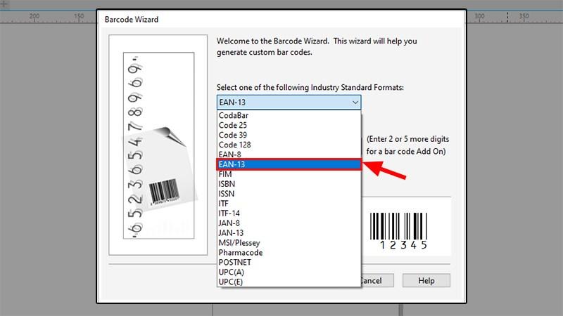 Chọn barcode dạng EAN-13