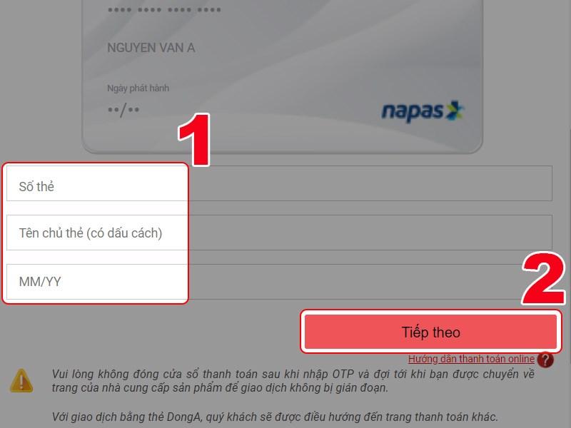 Nhập thông tin thẻ ATM của bạn để thanh toán