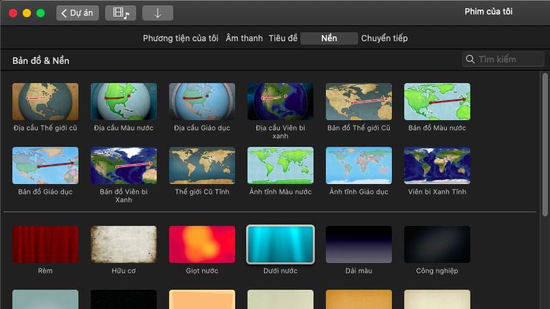iMovie đa dạng hình nền, hiệu ứng