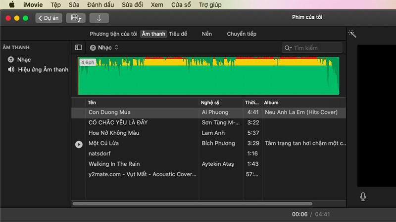 Chèn âm thanh trong video với iMovie