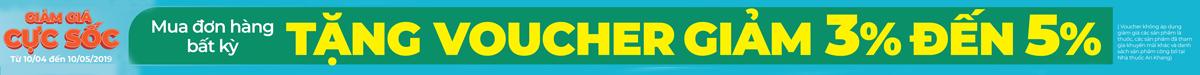 Mua đơn hàng bất kì tại nhà thuốc tặng Voucher giảm 3-5%