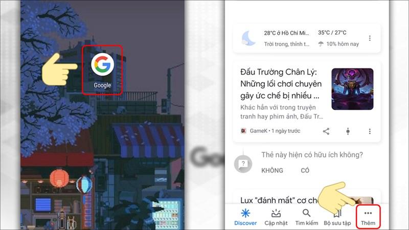 Khởi động ứng dụng Google