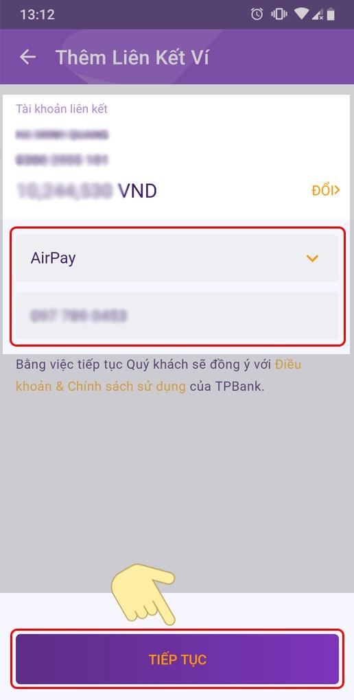 Chọn loại ví AirPay và nhập số điện thoại tương ứng