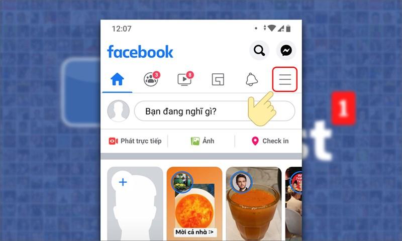 Bước 1: Các bạn truy cập vào Facebook, chọn biểu tượng ba gạch ngang bên phải.