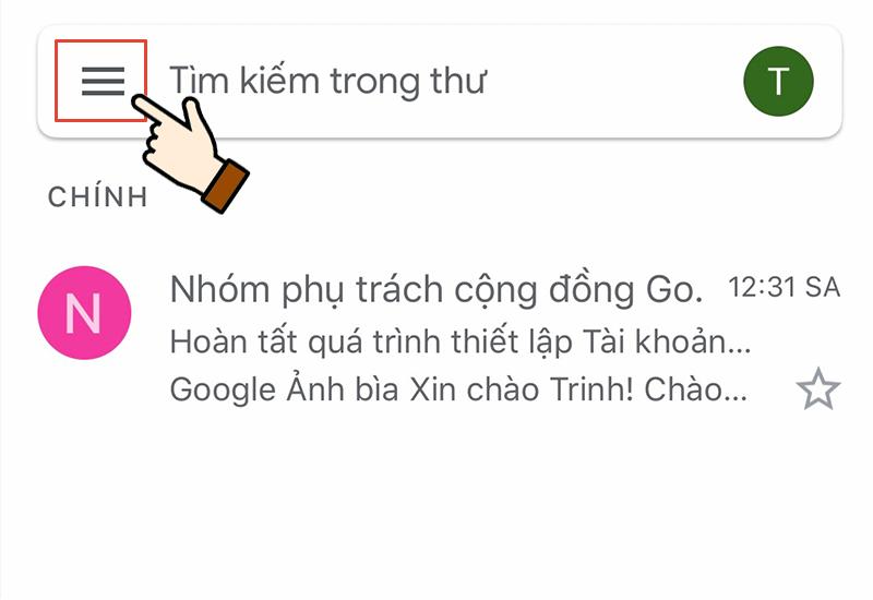 Chọn thanh trình duyệt ở góc phải giao diện Gmail