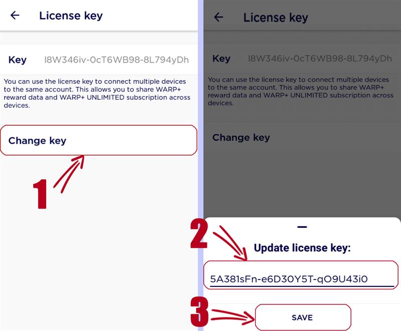 Chuyển về key mặc định.