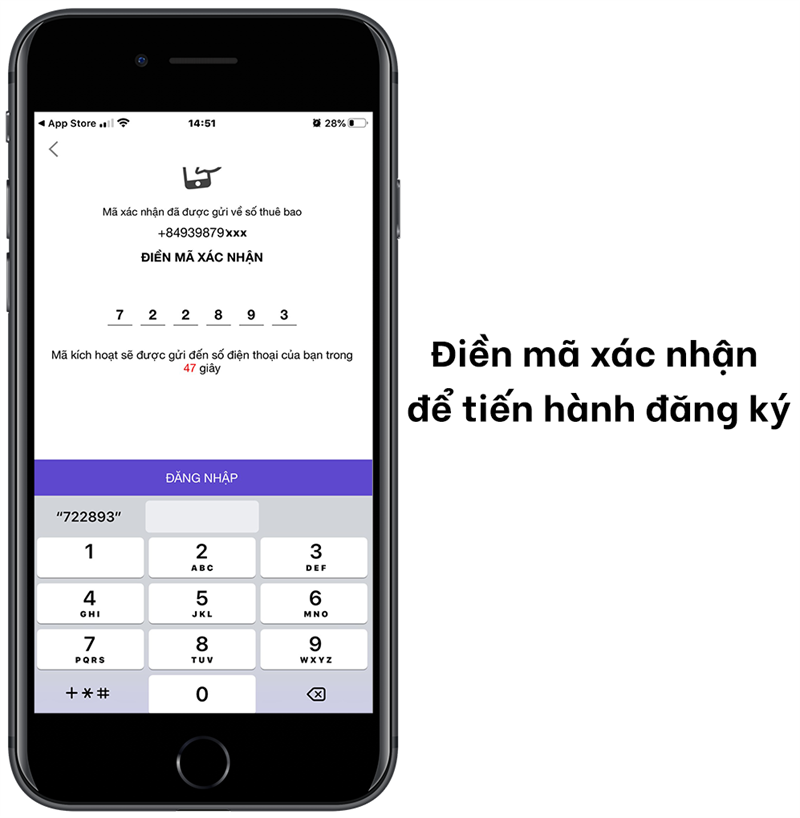 Điền mã xác nhận để tiến hành đăng ký