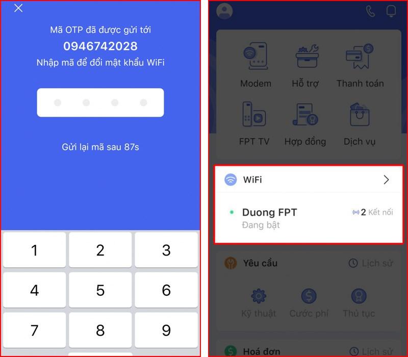 Mở mục Wifi để dổi mật khẩu wifi FPT