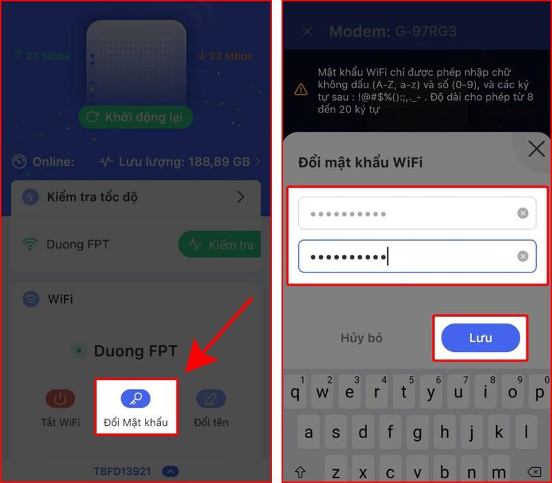 Đổi mật khẩu wifi FPT trên điện thoại