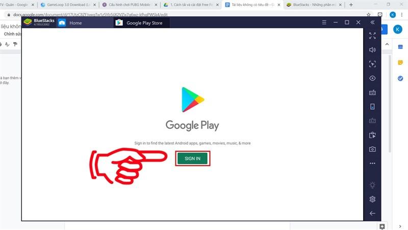 chọn Sign In để đăng nhập tài khoản Gmail của bạn