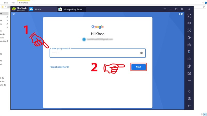 Nhập tên và mật khẩu tài khoản Gmail của bạn, sau đó nhấn Next