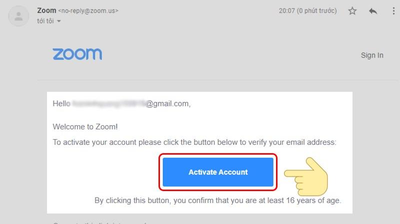 Truy cập vào email và kích hoạt tài khoản Zoom