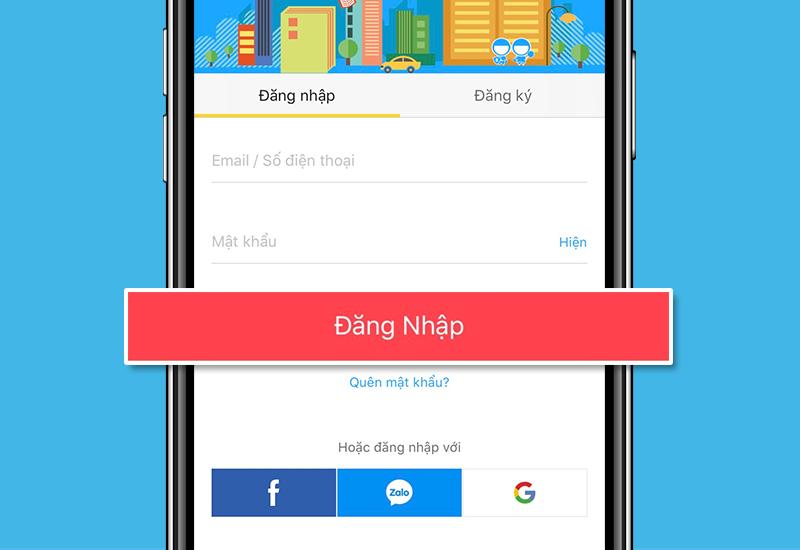 Đăng nhập tài khoản trên app