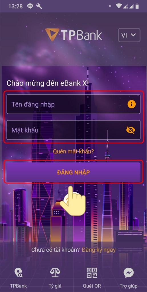 Đăng nhập tài khoản ngân hàng TPBank