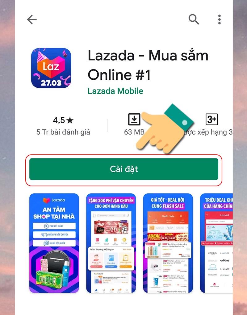 Bấm cài đặt để tải ứng dụng Lazada