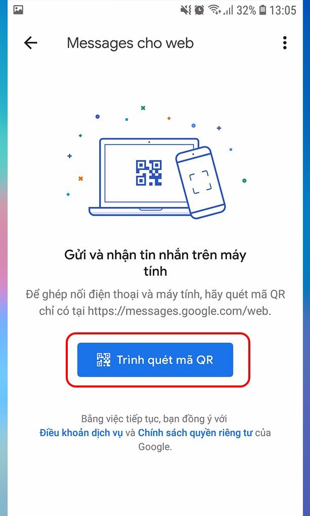 Tại giao diện Messages for web, bạn hãy nhấn vào Trình quét mã QR