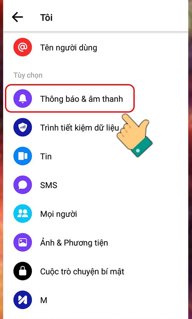 Chọn mục thông báo & âm thanh trên Facebook Messenger
