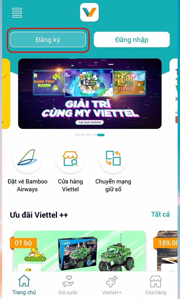 Chọn mục đăng ký ứng dụng My Viettel